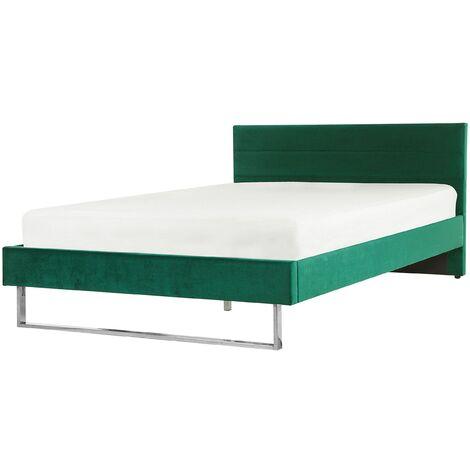 Cama de terciopelo verde 160x200 cm BELLOU