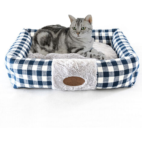 Cama del animal domestico del perro suave cama del rectangulo de la perrera del gato del perrito caliente amortiguador cama para mascotas Suministros cesta Mat, gris, M