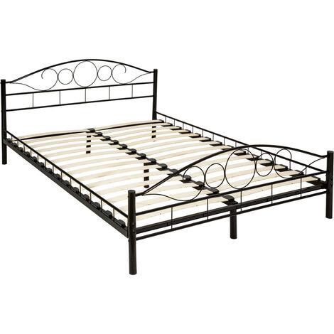"""Cama doble """"Art"""" para dormitorio con estructura de acero con somier incluido - somier para cama de matrimonio, cama para colchón doble, base de cama con cabecero y pies"""