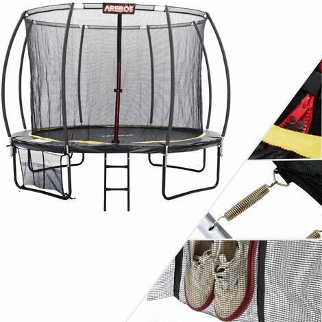 Cama elástica AREBOS 12 pies 366 cm Calabaza Curvada con red de seguridad TÜV - Negro