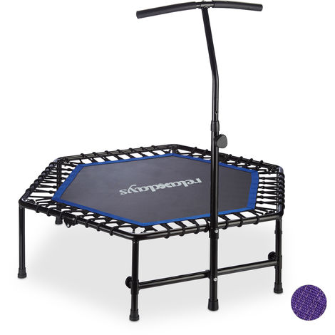 Cama Elástica de Interior Plegable con Barra, Trampolín Fitness, Hasta 120 kg, Acero-PP, Negro-Azul