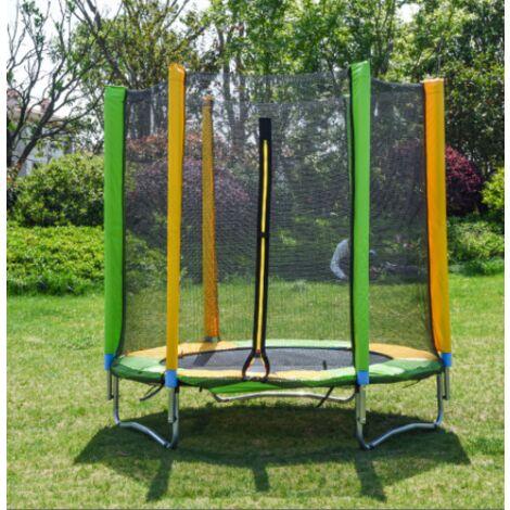 Cama elástica de jardín para niños, cama elástica elástica con red de seguridad, 150 cm de diámetro, red protectora, cuerda elástica