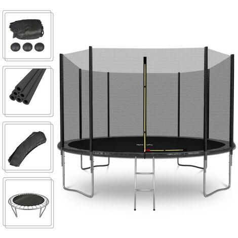 Cama elástica Deluxe 12FT ø366cm Negro - Con red de seguridad, estera de salto, acolchado de protección, ecalera - Negro