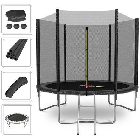 Cama elástica Deluxe 8FT ø244cm Negro - Con red de seguridad, estera de salto, acolchado de protección, ecalera - Negro