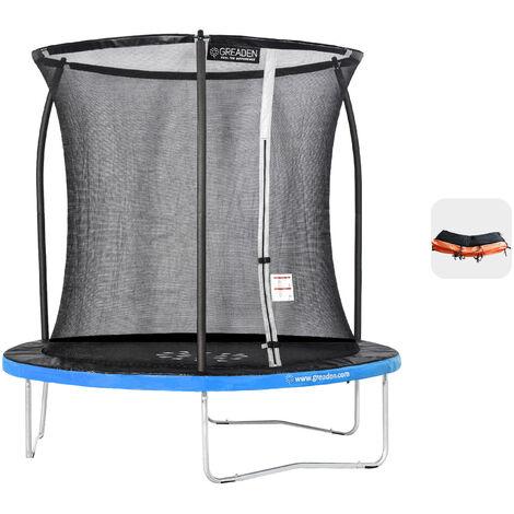 Cama elástica para exteriores Blue + Orange 250 fitness Garden 244cm - Normas de la UE, diseño exclusivo, ultraseguro