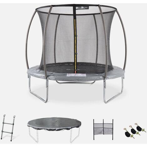 Cama elástica redonda Ø 250 cm gris con red de seguridad interna - Plutón INNER XXL- cama elástica 2.50 m 250 cm