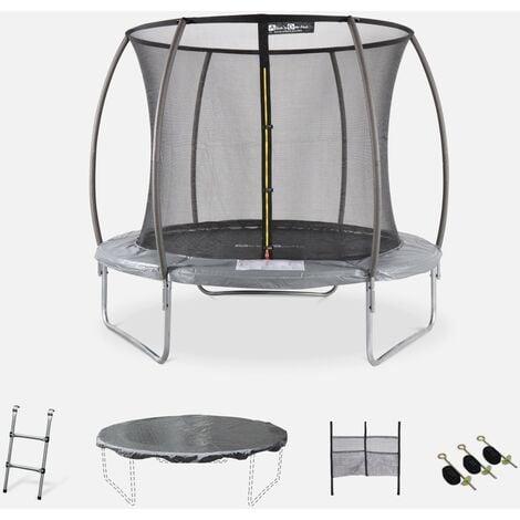 Cama elástica redonda Ø 250 cm gris con red de seguridad interna - Plutón INNER XXL- Nuevo modelo - cama elástica de jardín 2,50 m 250 cm   Calidad PRO.   Normas de la UE. - Gris