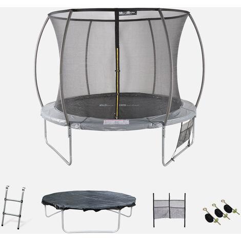 Cama elástica redonda Ø 305 cm gris con red de seguridad interna - Mars INNER XXL- Nuevo modelo - cama elástica de jardín 3,05 m
