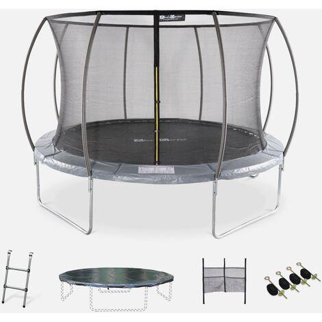 Cama elástica redonda Ø 370 cm gris con red de seguridad interna - Saturne INNER XXL- Nuevo modelo - cama elástica de jardín 3,70 m 370 cm   Calidad PRO.   Normas de la UE.