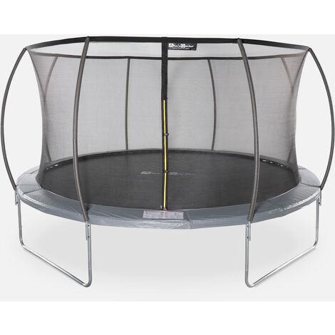 Cama elástica redonda Ø 430 cm gris con red de seguridad interna - Venus INNER - Nuevo modelo - cama elástica de jardín 4,30 m 430 cm   Calidad PRO.   Normas de la UE.
