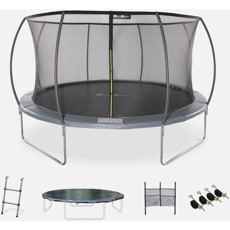 Cama elástica redonda Ø 430 cm gris con red de seguridad interna - Venus INNER XXL- Nuevo modelo - cama elástica de jardín 4,30m 430cm   Calidad PRO.   Normas de la UE.