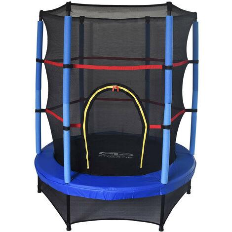 Cama Elástica Trampolín Infantil Outdoor Toys Happy Jump Blue Diametro 140 cm Con Red Seguridad
