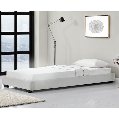 Cama individual - Tapizado en piel sintética - 90 x 200 cm - Somier moderno con Listones para Cama - Blanco