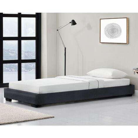 Cama individual - Tapizado en piel sintética - 90 x 200 cm - Somier moderno con Listones para Cama - Negro