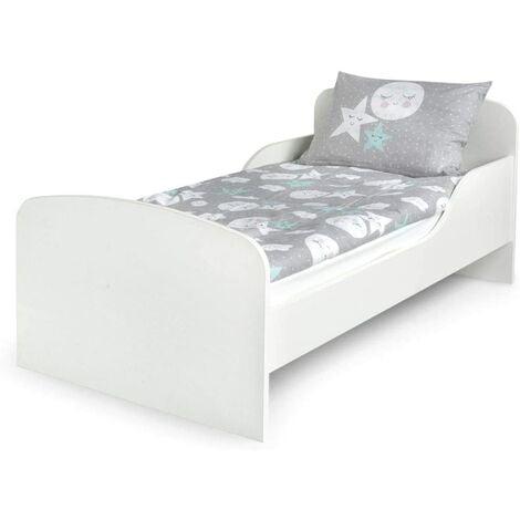 Cama infantil con colchón cómodo 140/70. Blanco. De madera.