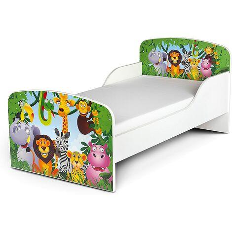 Cama infantil con colchón cómodo 140/70 cm. Motivo: Animales de la selva