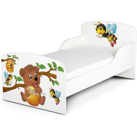 Cama infantil con colchón cómodo 140/70. Motivo: Barril de Miel