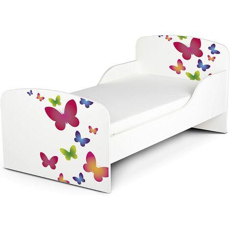Cama infantil con colchón cómodo 140/70. Motivo: Mariposas. De madera.