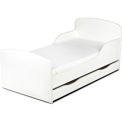 Cama infantil con colchón cómodo y cajón 140/70. Blanco