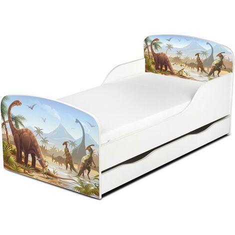 Cama infantil con colchón cómodo y cajón 140/70. Motivo: Los Dinosaurios