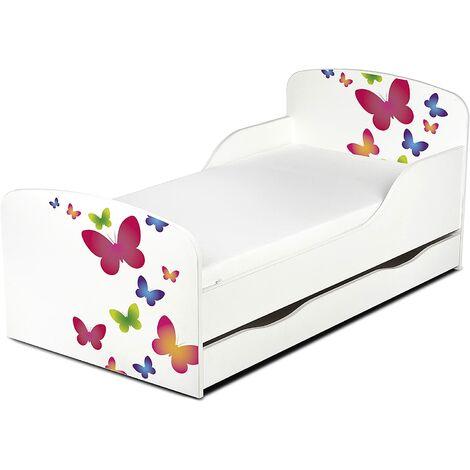 Cama infantil con colchón cómodo y cajón 140/70. Motivo: Mariposas. De madera.