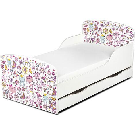 Cama infantil con colchón cómodo y cajón 140/70. Motivo: Princesa