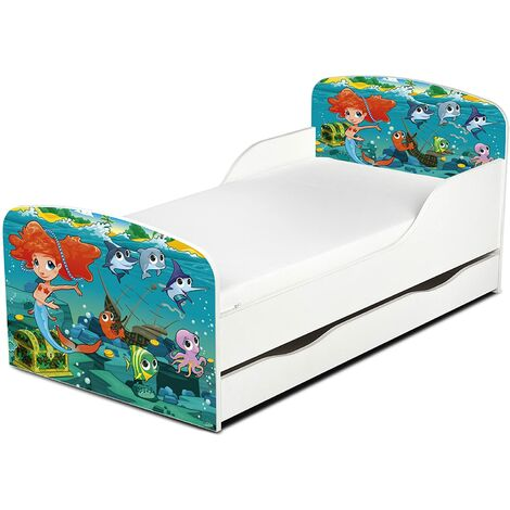 Cama infantil con colchón cómodo y cajón 140/70. Motivo: Sirenita