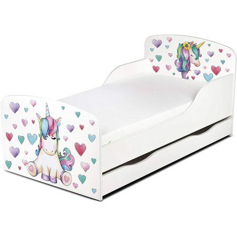 Cama infantil con colchón cómodo y cajón 140/70. Motivo: Unicornio