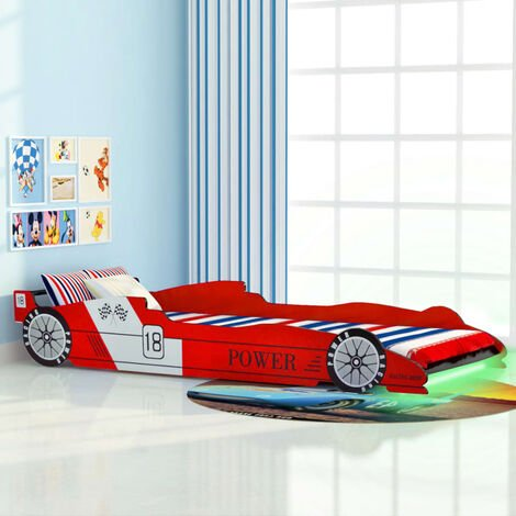 Cama infantil con forma de coche carreras y LED 90x200 cm roja