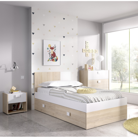 CAMA Infantil con MESITA y COMODA color Natural y Blanco, medidas Alto 79 cm x Largo 196 cm