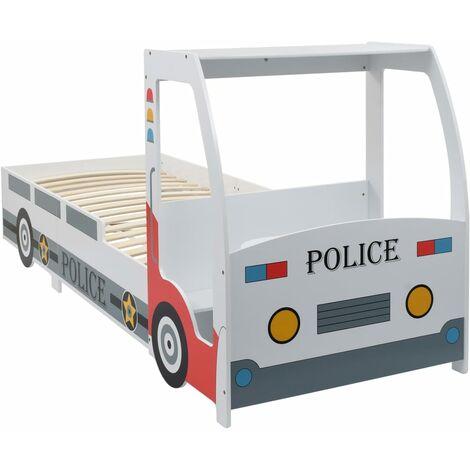 Cama infantil forma de coche de policía y escritorio 90x200 cm