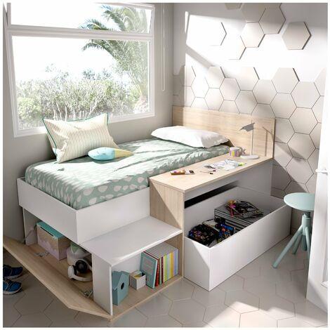 Cama juvenil compacta con escritorio y almacenaje 110x194x135cm