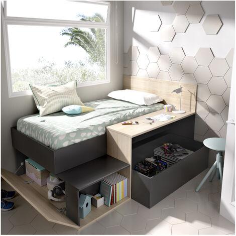 Cama juvenil compacta con escritorio y almacenaje grafito 110x194x135cm