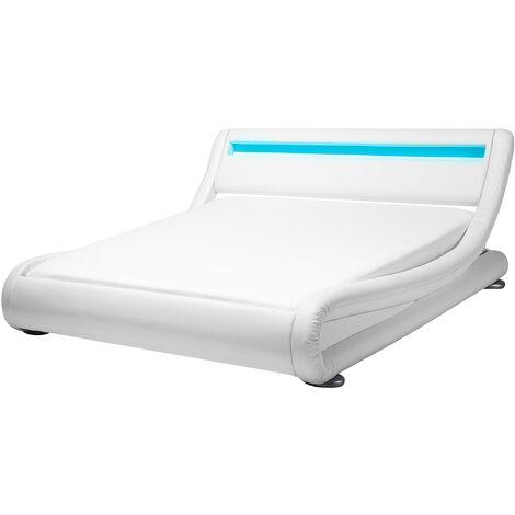 Cama LED blanca en piel sintética 140x200 cm AVIGNON