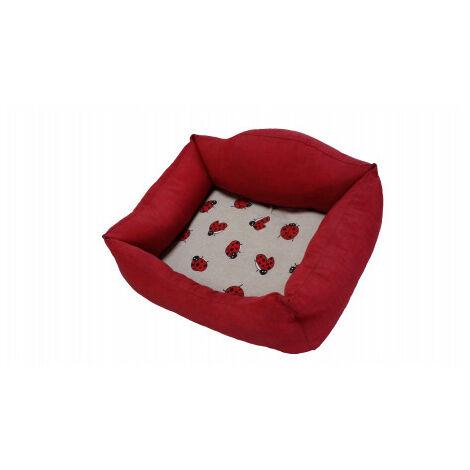 Cama Mascotas Siesta Rojo Mariquitas - 55 cm