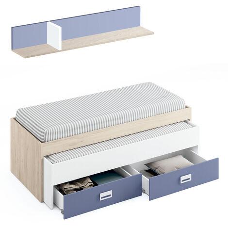 Cama nido con cajones y estante en color Aurora combinado con blanco atlas y azul modelo MAX