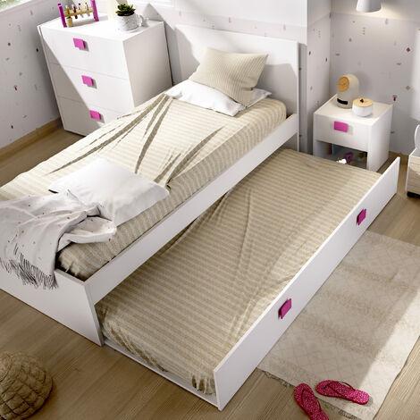Cama Nido con cama inferior incluida, ideal para habitaciones infantiles y juveniles. 76 cm (alto) x 96 cm (ancho) x 196 cm (prof.) ROSA