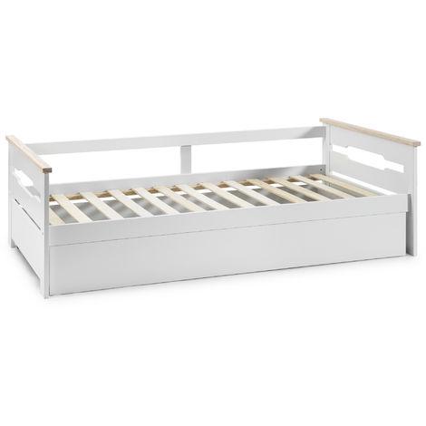 Cama Nido Juvenil AISHA 90X190. Color Blanco. Dimensiones: 200cm (Largo). 105cm (Ancho) y 62cm (Alto)