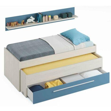 Cama nido juvenil con cajón color azul y blanco 90x190 somier no incluido