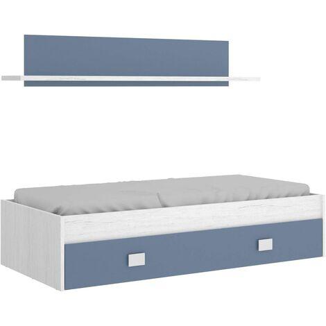Cama Nido Juvenil con Cajon y Estante Superior Acabado Artic y Azul. para colchón de 90x190cm…