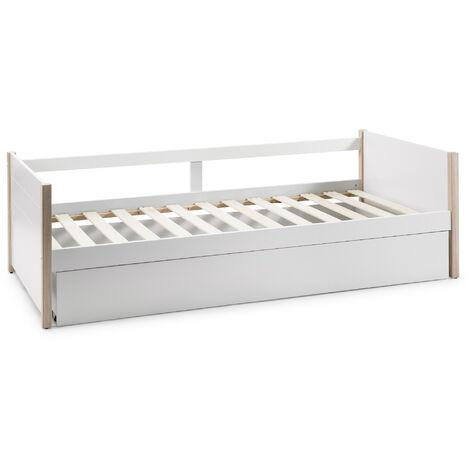 Cama Nido Juvenil ROXIE 90X190. Color Blanco. Dimensiones: 200cm (Largo). 98.5cm (Ancho) y 62cm (Alto)