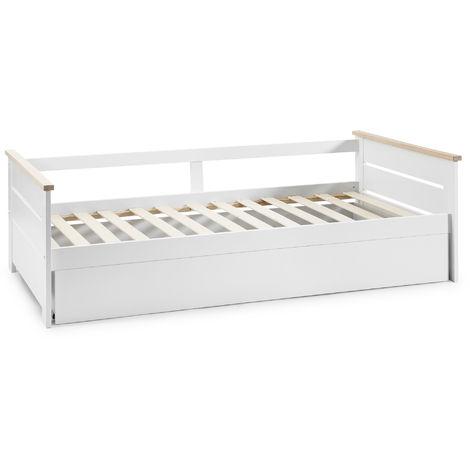 Cama Nido Juvenil Sena 90X190. Color Blanco. Dimensiones: 199cm (Largo). 105cm (Ancho) y 62cm (Alto)