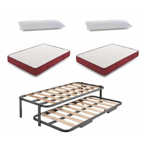 Cama Nido Metalica Reforzada + 2 Colchones Viscoelasticos Viscoferta + 2 Almohadas De Fibra Resinada
