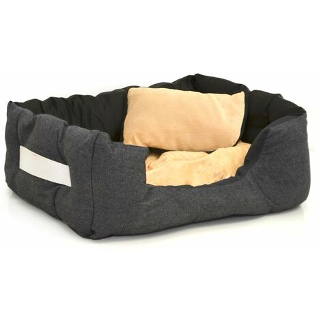 Cama nido para mascotas de eyepower Nicolas S INVERS negro-beis   para perro gato cachorro   aprox 52x40x16cm   cojín y colchoneta removible   base de goma