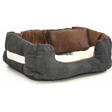 Cama nido para mascotas de eyepower Nicolas S   para perro gato cachorro   color marrón y blanco imitación piel de cordero   aprox 52x40x16cm   con cojín y colchoneta removible   base de goma