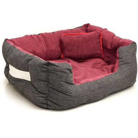Cama nido para mascotas de eyepower Nicolas S | para perro gato cachorro | color rojo burdeos | aprox 52x40x16cm | cojín y colchoneta removible | base de goma