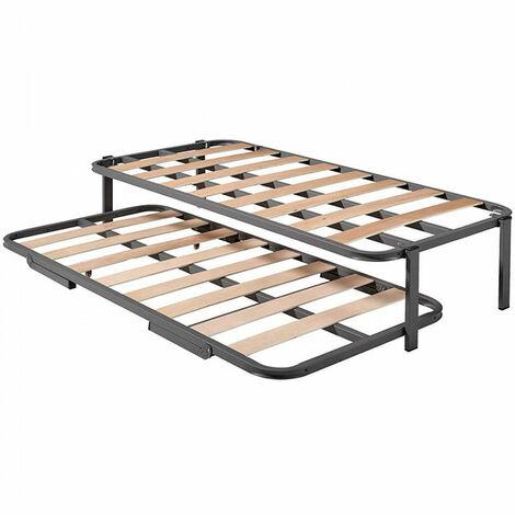 Cama Nido - Somier Superior Con Estructura Reforzada Doble Barra y 4 Patas + Somier Inferior Con Patas Plegables y Ruedas, 80x180 cm