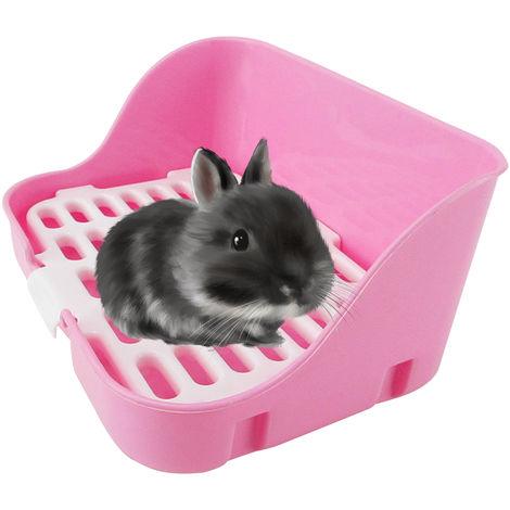 Cama para animales Orinal jaula Esquina Aseo lecho de paja Square Box Pan del animal domestico para conejo adulto Chinchilla Pequeno Conejillos de Indias Ferret, Azul