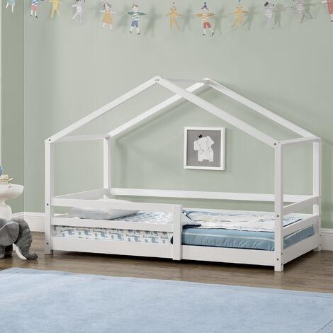 Cama para niños - 90 x 200 cm - Cama infantil con Somier - Estructura de madera Pino - En diseño de Casa - Con Reja de seguridad - Protección - Blanco lacado mate