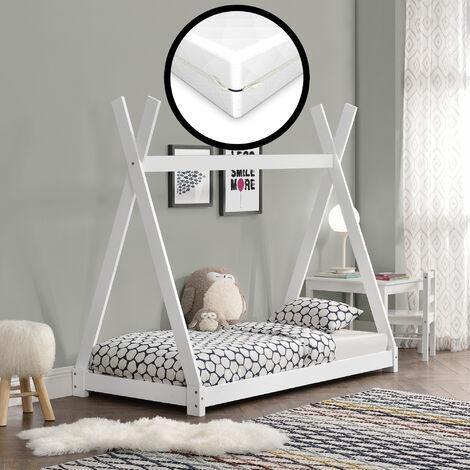 Cama para niños con colchón - Espuma fría - 80 x 160 cm - Adecuado para personas alérgicas - Textil de confianza - certificado OEKO-TEX 100 - Blanco